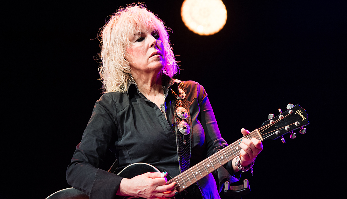 Lucinda Williams performs on stage during the Cambridge Folk Festival 2019 in Cambridge England