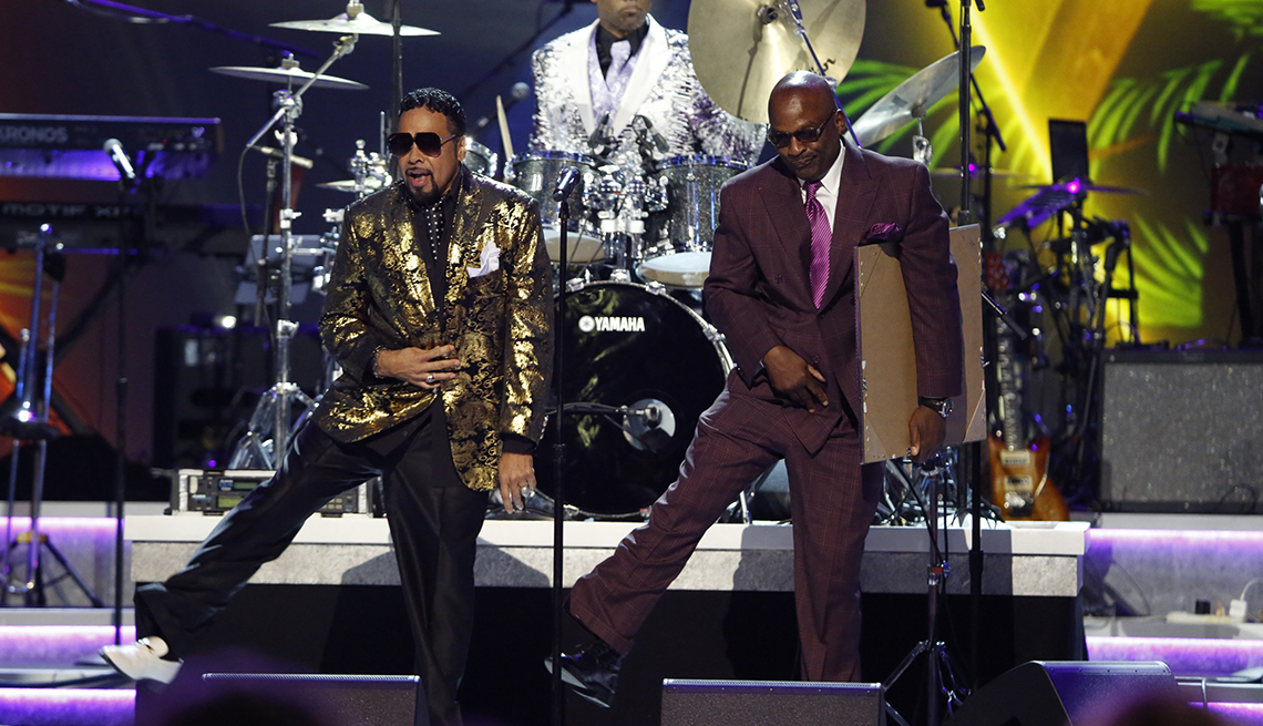 Morris Day and Jerome Benton of The Time perform onstage