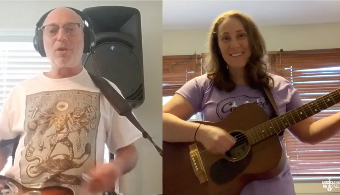 "Screenshots of volunteer Musicians Matthew and Sarah Dedicate ""Three Little Birds"" to Patients"