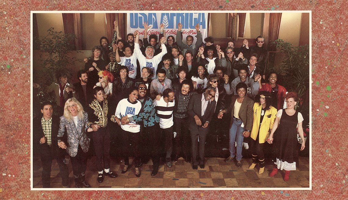 A group photograph of the contributing performers on the front cover of the We Are the World record album