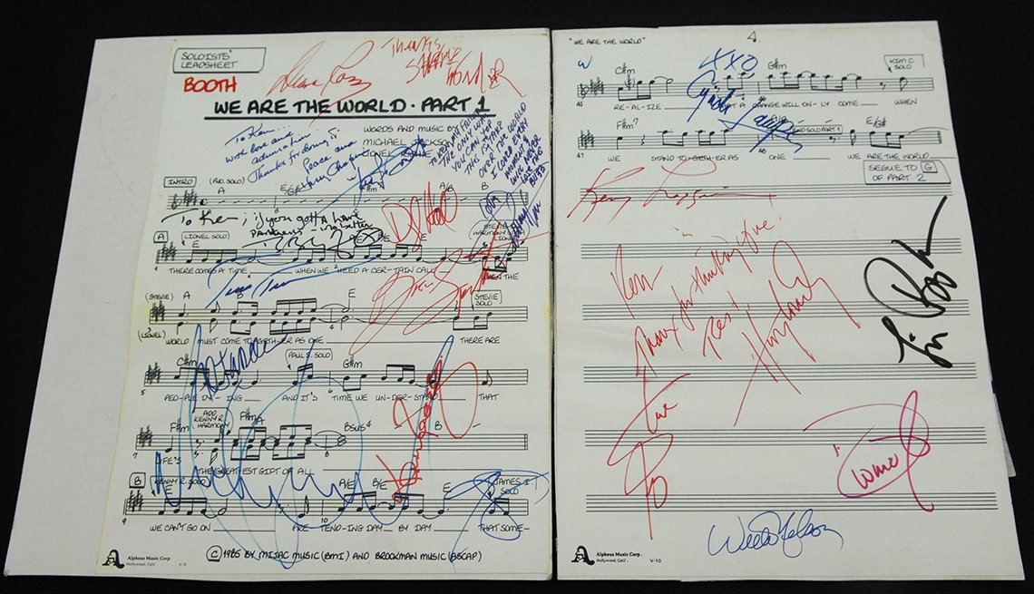 A soloist booth song sheet used for the 1985 recording of We are the World