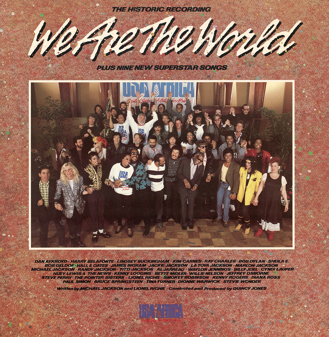 Front cover of the We are the World record album shows the group of musicians together for a photo