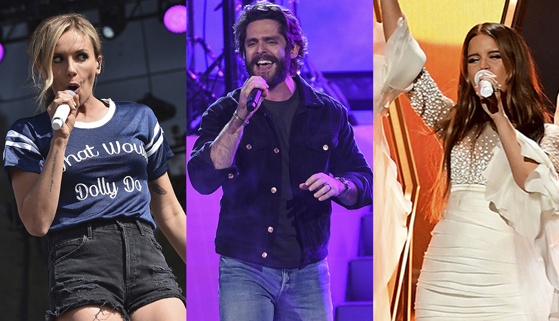 rising pop country acts from left to right carly pearce thomas rhett and maren morris