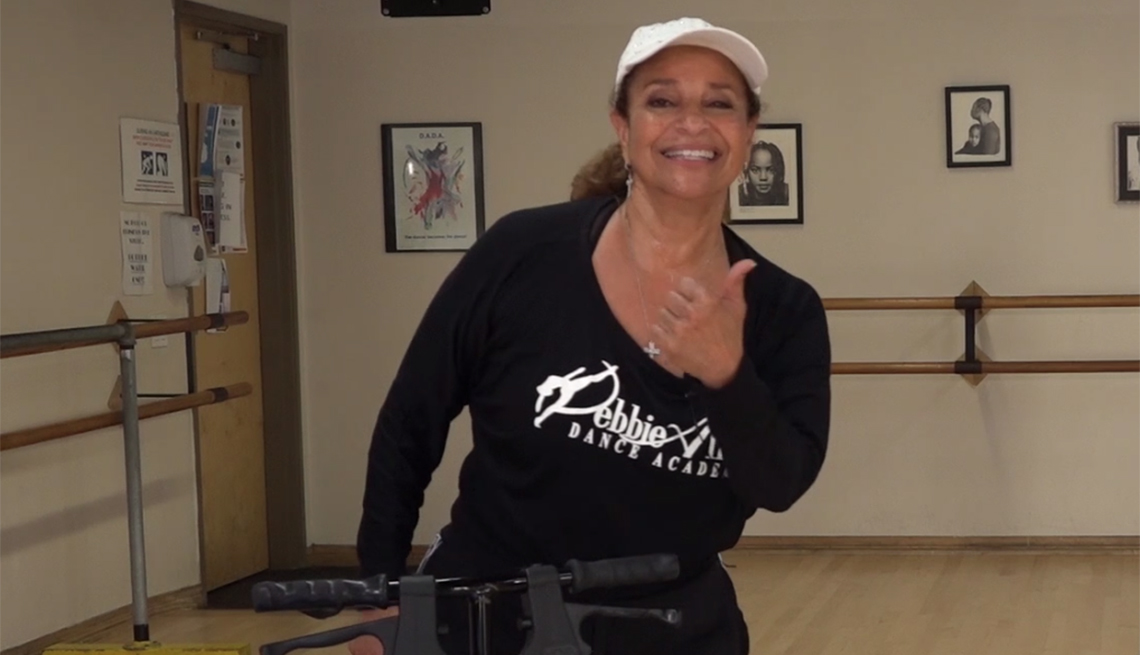 Debbie Allen giving lessons during a virtual dance party