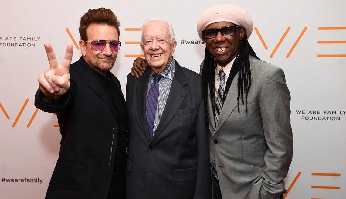 Bono, Jimmy Carter y Nile Rodgers