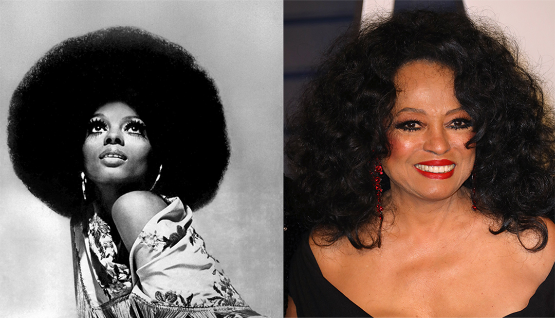 Diana Ross circa 1975 (left); Diana Ross 2019 (right)