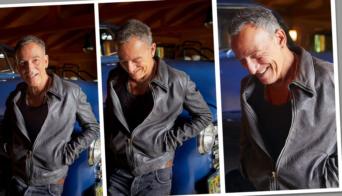 A trio of images of Bruce Springsteen leaning on an antique car in his garage as he smiles and lowers his head