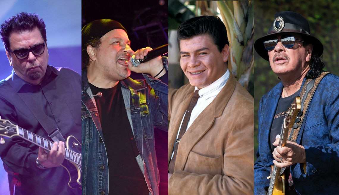 Cesar Rosas de Los Lobos, Asdrubal Sierra de Ozomatli, Ritchie Valens y Carlos Santana.