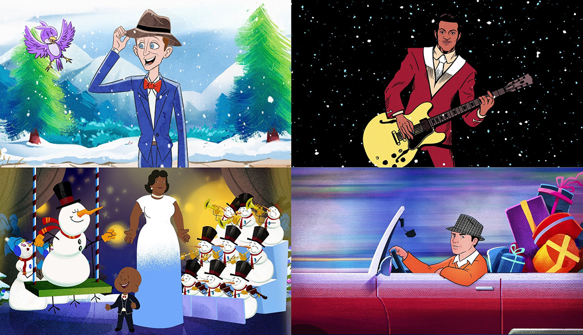 Four images of animated music videos for classic holiday songs featuring Bing Crosby, Chuck Berry, Ella Fitzgerald and Frank Sinatra