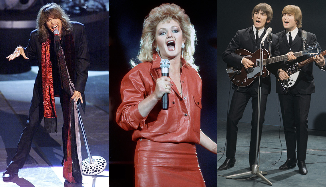 Side-by-side images of Steven Tyler, Bonnie Tyler, George Harrison and John Lennon singing and performing