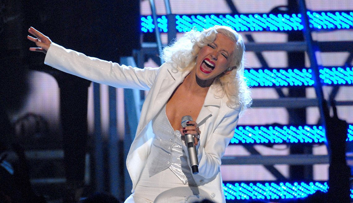 Christina Aguilera performs It's a Man's World at the 49th Annual Grammy Awards