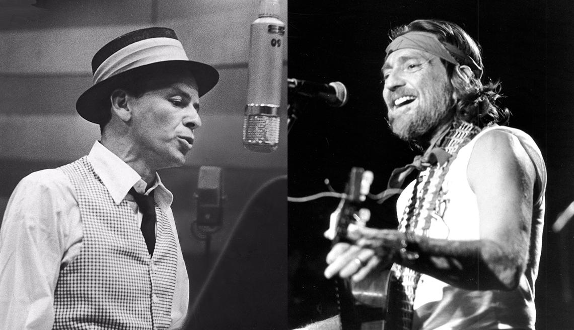 Iconos Frank Sinatra y Willie Nelson.