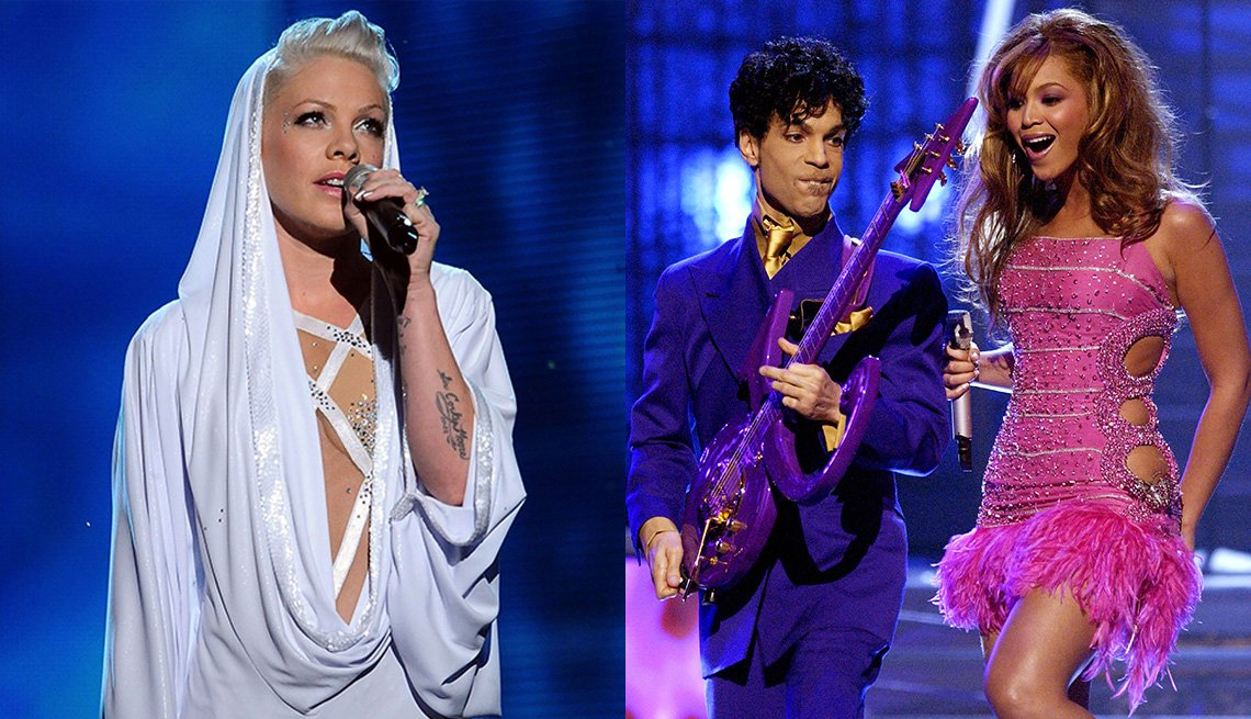 Side by side images of Pink performing at the Grammy Awards in 2010 and Prince and Beyonce's performance at the Grammy Awards in 2004.