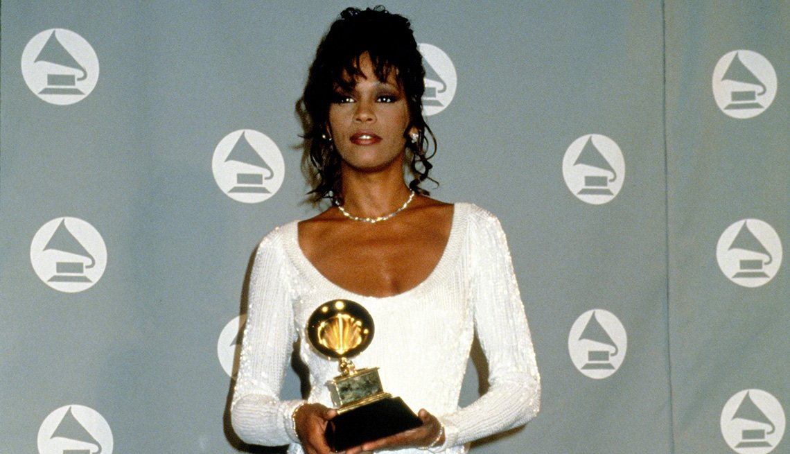 Whitney Houston at the 36th Annual Grammy Awards