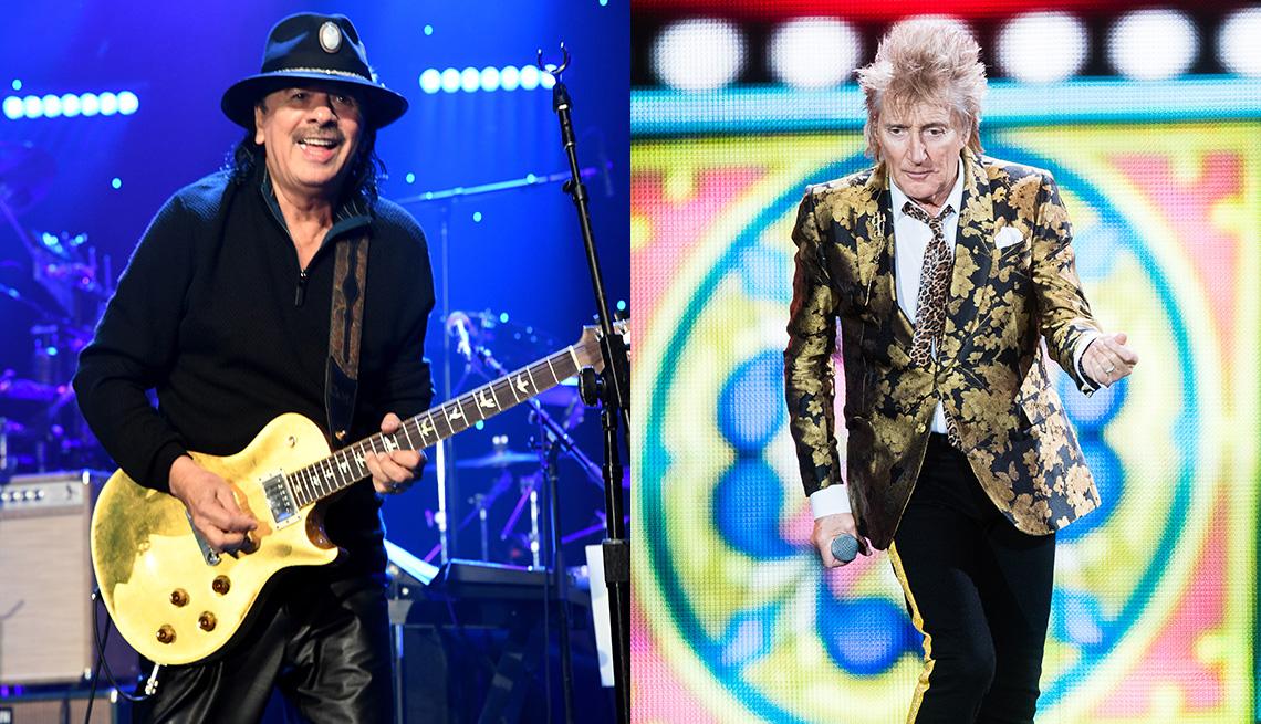 Carlos Santana and Rod Stewart performing on stage