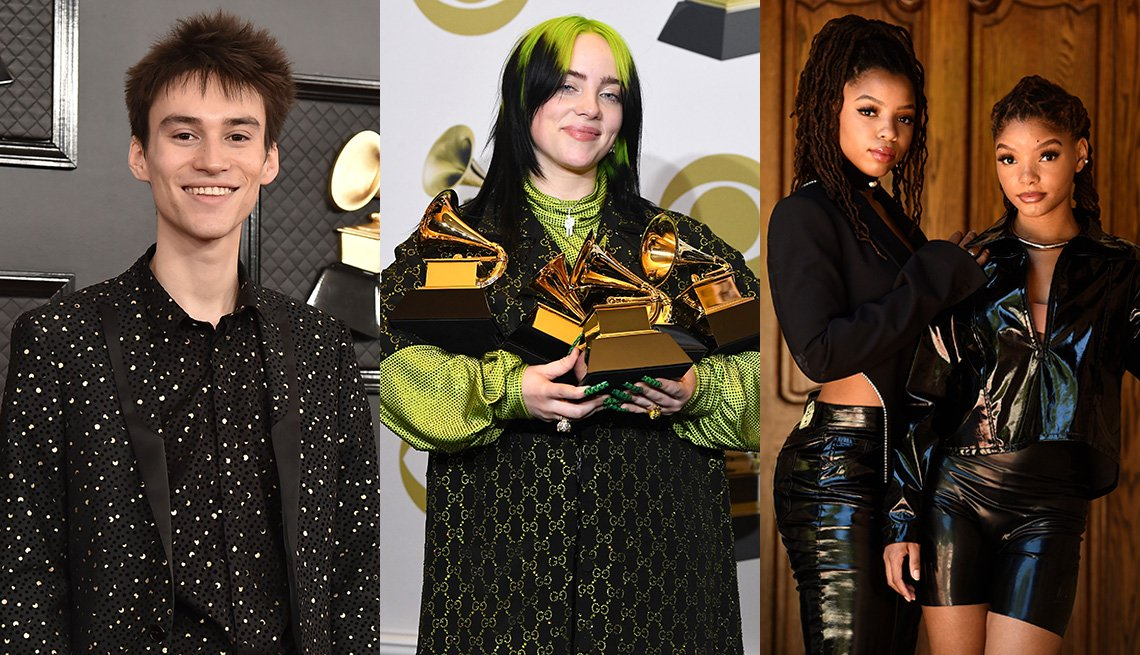Side by side images of Jacob Collier, Billie Eilish and Chloe x Halle