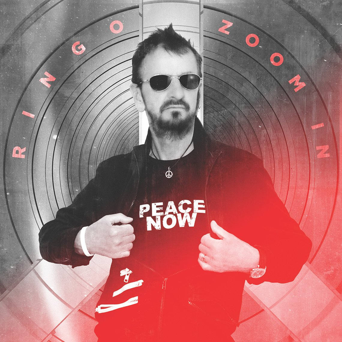 Ringo Starr wearing a Peace Now shirt for the cover art of his EP Zoom In