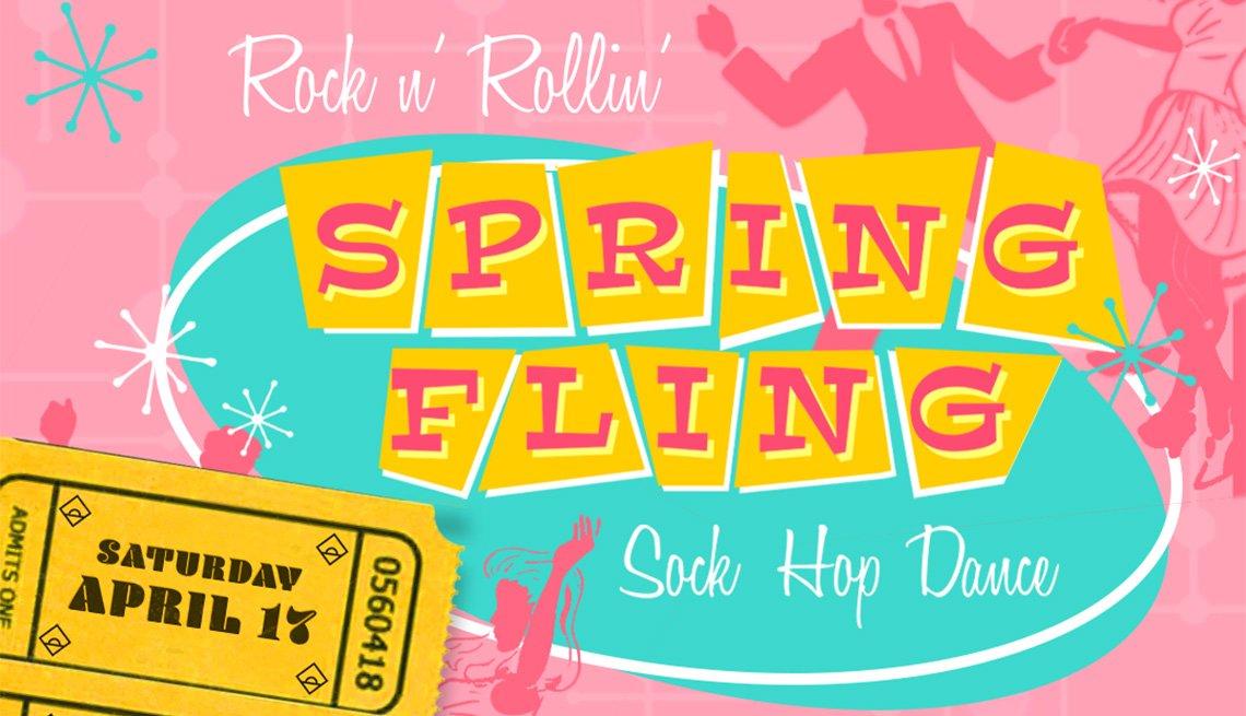 Ilustración para el evento Rock n 'Rollin' Spring Fling: A Sock Hop Dance.