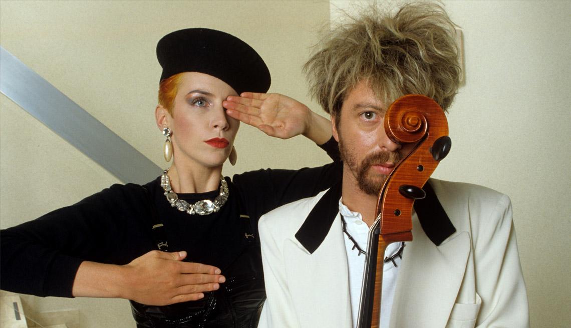 Annie Lennox y Dave Stewart de la banda Eurythmics.