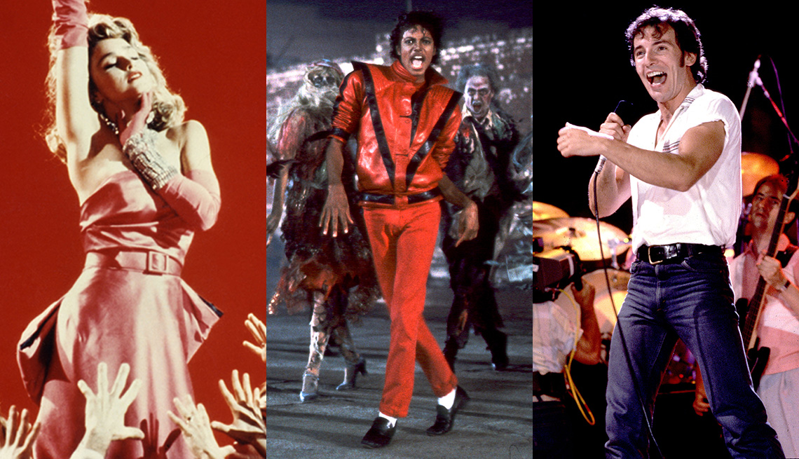 De izquierda a derecha: Madonna, Michael Jackson y Bruce Springsteen
