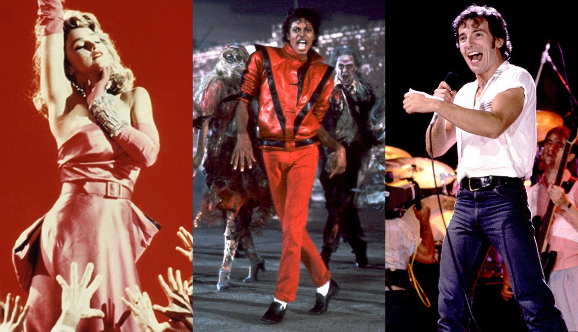 Side by side images of Madonna, Michael Jackson and Bruce Springsteen