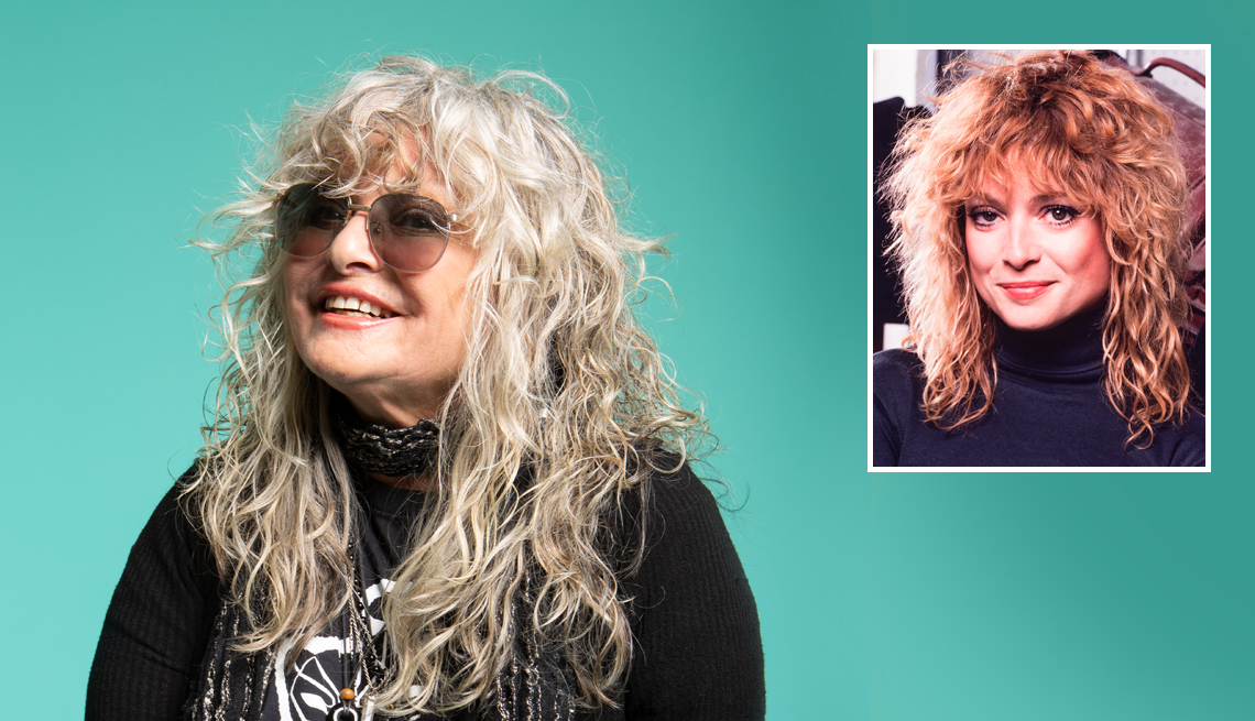 a photo of nina blackwood present next to a photo of her when she worked for m t v in nineteen eighty one