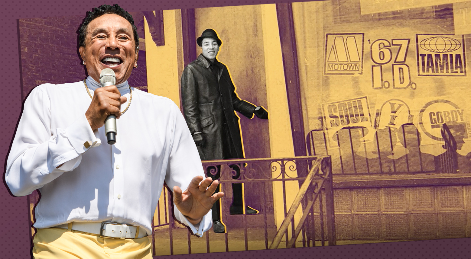 smokey robinson performing at jazz fest in new orleans in two thousand and eighteen overlaid on a vintage photo of him entering the motown record studio as a young man