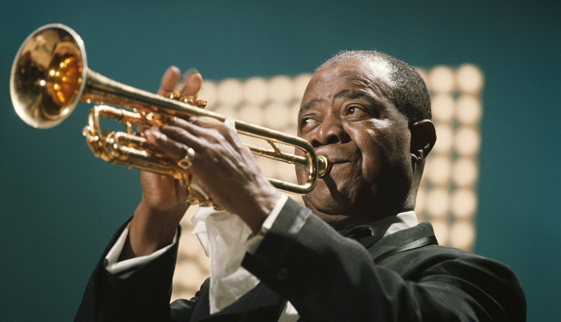 louis armstrong performing on the kraft music hall t v show at nbc studios in june nineteen sixty seven