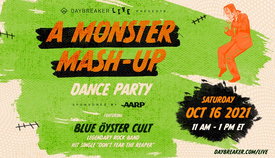 Una ilustración para el evento Monster Mash Up Dance Party con el Blue Oyster Cult.