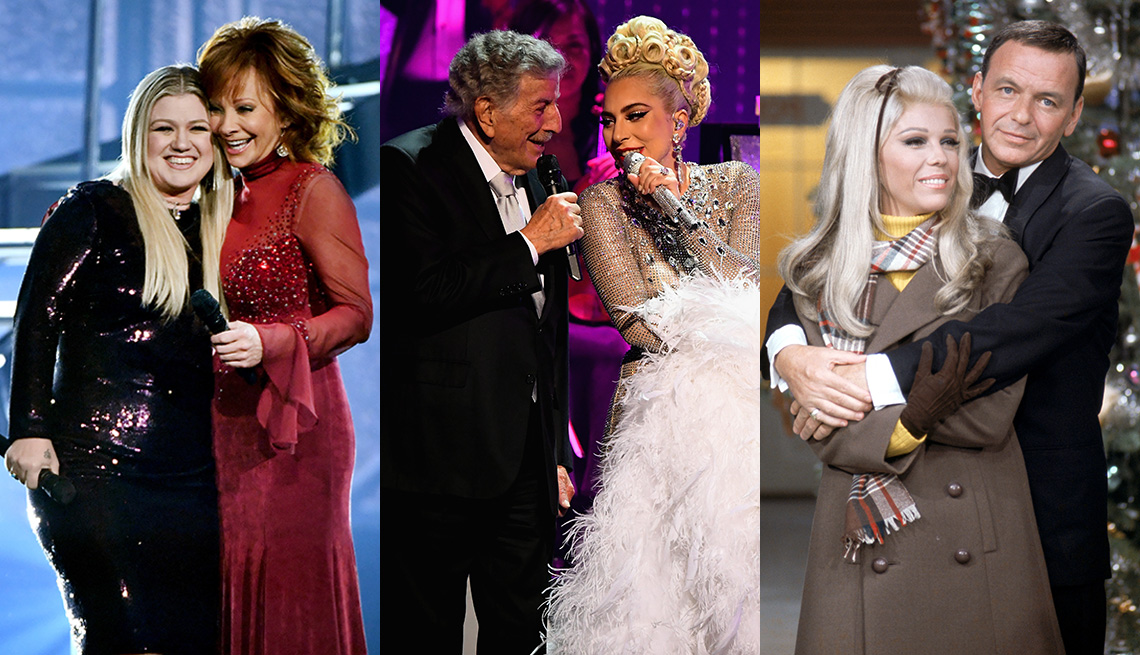 Side by side images of Kelly Clarkson and Reba McEntire together on stage, Tony Bennett and Lady Gaga singing together and Frank Sinatra holding his daughter Nancy in his arms during a television special