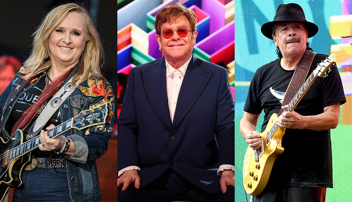Imágenes lado a lado de Melissa Etheridge, Elton John y Carlos Santana.