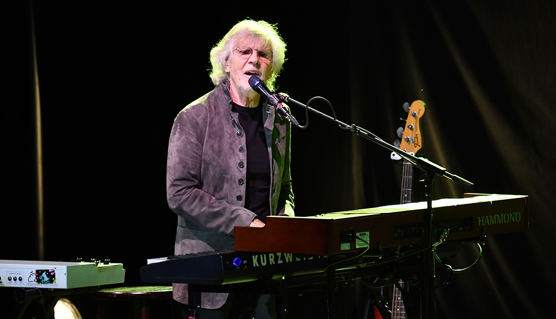 rod argent of the zombies shown playing keyboards and singing
