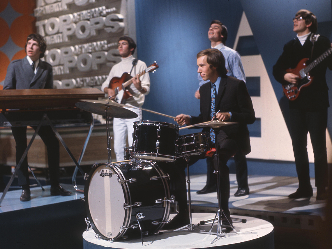 music band the zombies play in this nineteen sixty five image from their performance on top of the pops in the u k