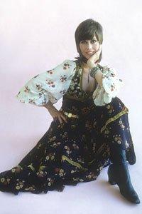 Jane Fonda wearing floral dress, 1975