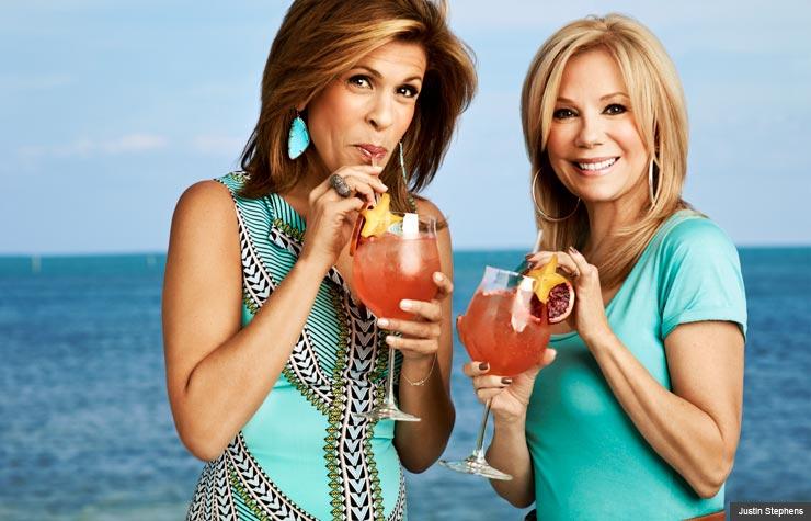 Kathie Lee Gifford and Hoda Kotb sip cocktails by the pool of Kathie Lee's Florida home (Justin Stephens)