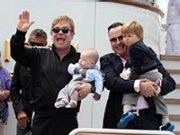 Elton John and David Furnish with their two sons (Maurizio La Pira/Splash News/Corbis)