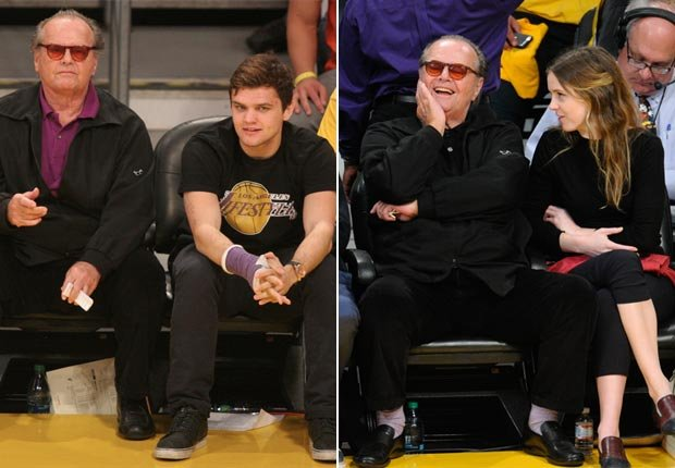 Left: Jack Nicholson with his son, Raymond at a Lakers game. Right: Nicholson with daughter Lorraine at another Lakers game (Splash News/Corbis)