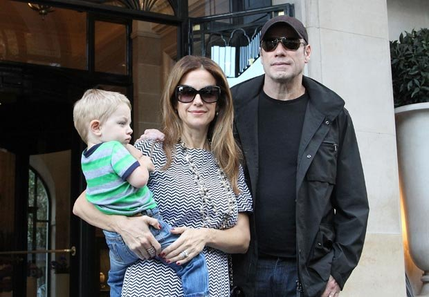 John Travolta with his wife Kelly Preston and their son Benjamin (Marc Piasecki/FilmMagic/Getty Images)