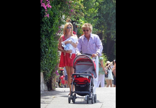 Rod Stewart with his wife Penny Lancaster, and their sons Alastair and Aiden (Splash News/Corbis)