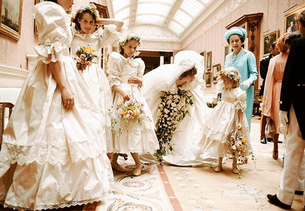 Princess Diana is photographed on her wedding day with Queen Elizabeth II and her bridesmaids on July 19, 1981. (Lichfield/Getty Images)