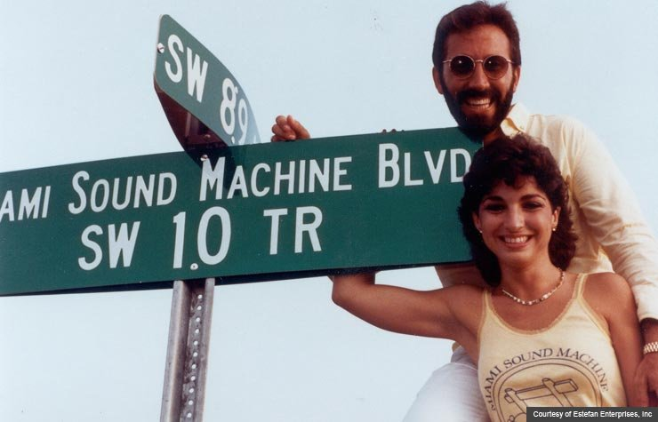 item 2, Gallery image. The unveiling of their street sign.The sign is in Miami (89 SW 10 Terrance) in 1985.