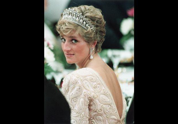Princesa Diana en un banquete en honor al emperador del Japón