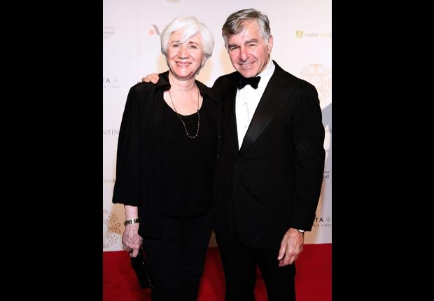 Michael Dukakis, 80, with cousin Olympia Dukakis, 82. (John Lamparski/WireImage/Getty Images)