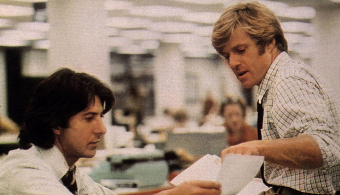 Movie Still From All The President's Men, Actors Robert Redford And Dustin Hoffman, Movies, AARP Entertainment, Essential Boomer Movies