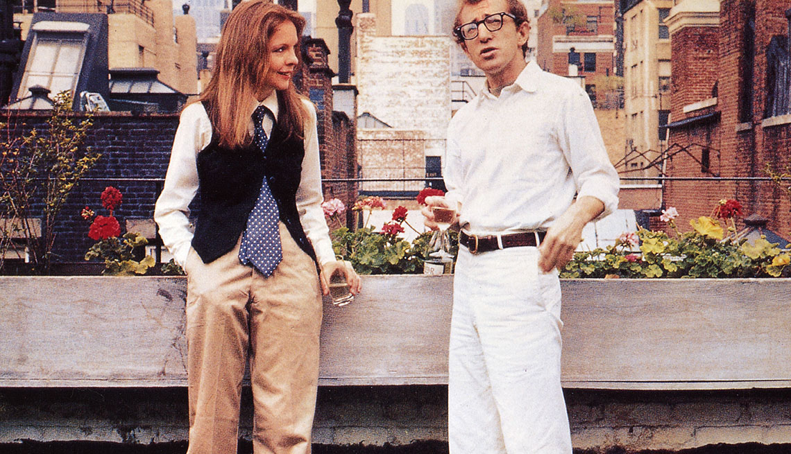Movie Still From Annie Hall Starring Actors Woody Allen And Diane Keaton, AARP Entertainment, Essential Boomer Movies