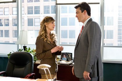 Kyra Sedgwick and Jon Tenney in a scene from The Closer on TNT.
