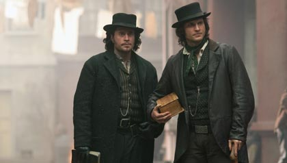 "Tom Weston-Jones as Detective Kevin Corcoran and Kevin Ryan as Francis Maguire in BBC America's ""Copper"""