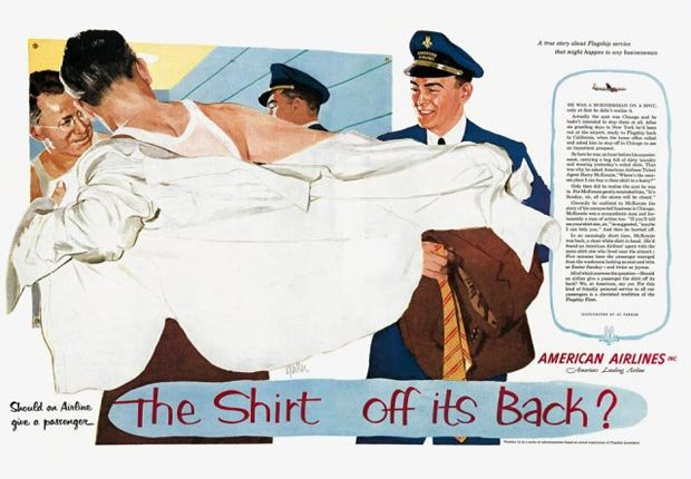 American Airline's The shirt off it's back advertisement, for the Real Ads from the Real Mad Men slideshow.