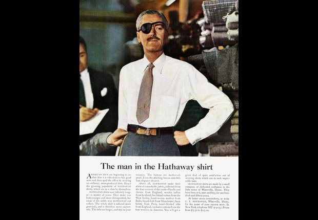 An ad for Hathaway shirts from the Mad Men era, for the Real Ads from the Real Mad Men slideshow.