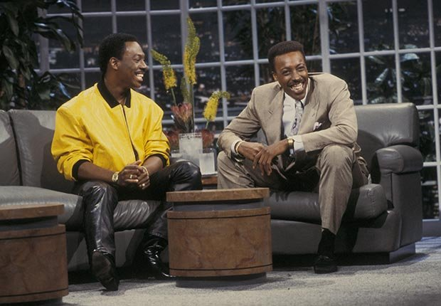 Eddie Murphy and Arsenio Hall during Eddie Murphy Visits The Arsenio Hall Show